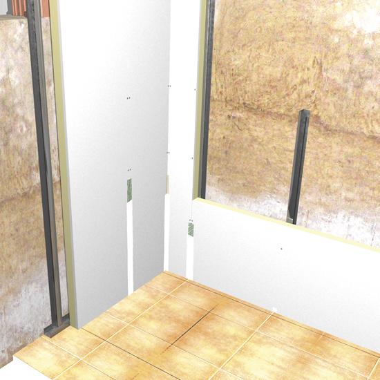 Aislamiento de pared interna con paneles acoplados a placa de yeso ...